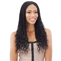 Glamourtress, wigs, weaves, braids, half wigs, full cap, hair, lace front, hair extension, nicki minaj style, Brazilian hair, crochet, hairdo, wig tape, remy hair, Lace Front Wigs, Model Model Synthetic Lace Front Wig - WAVY END MINI BOX BRAIDS 24""