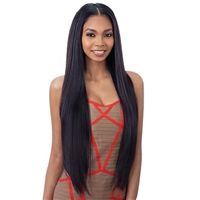 Glamourtress, wigs, weaves, braids, half wigs, full cap, hair, lace front, hair extension, nicki minaj style, Brazilian hair, crochet, hairdo, wig tape, remy hair, Lace Front Wigs, Remy Hair, Model Model Synthetic Oval Part Wig - LONG LAYERED YAKY