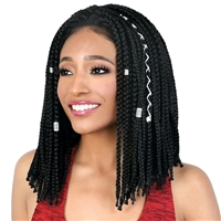 Glamourtress, wigs, weaves, braids, half wigs, full cap, hair, lace front, hair extension, nicki minaj style, Brazilian hair, crochet, hairdo, wig tape, remy hair, Motown Tress Synthetic Box Braid Slayable & Spinable Part Lace Wig - LDP BOX14