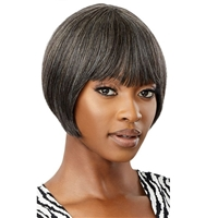 Glamourtress, wigs, weaves, braids, half wigs, full cap, hair, lace front, hair extension, nicki minaj style, Brazilian hair, crochet, hairdo, wig tape, remy hair, Lace Front Wigs, Remy Hair, Outre 100% Human Hair Fab & Fly Gray Glamour Wig - HH HARRIET