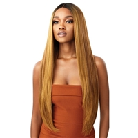 Glamourtress, wigs, weaves, braids, half wigs, full cap, hair, lace front, hair extension, nicki minaj style, Brazilian hair, crochet, hairdo, wig tape, remy hair, Lace Front Wigs, Outre Synthetic Melted Hairline HD Swiss Lace Front Wig - ELIANA