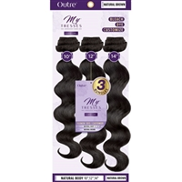 "Glamourtress, wigs, weaves, braids, half wigs, full cap, hair, lace front, hair extension, nicki minaj style, Brazilian hair, crochet, hairdo, wig tape, remy hair, Outre MyTresses Purple Label 100% Unprocessed Hair - NATURAL BODY 12"", 14"", 16"""
