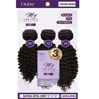 "Glamourtress, wigs, weaves, braids, half wigs, full cap, hair, lace front, hair extension, nicki minaj style, Brazilian hair, crochet, hairdo, wig tape, remy hair, Outre MyTresses Purple Label 100% Unprocessed Hair - NATURAL ROYAL JERRY 14"", 16"", 18"""