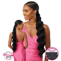 Glamourtress, wigs, weaves, braids, half wigs, full cap, hair, lace front, hair extension, nicki minaj style, Brazilian hair, crochet, hairdo, wig tape, remy hair, Lace Front Wigs, Outre Synthetic Pretty Quick Wrap Pony - FINGER WAVE 24