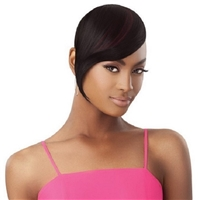 Glamourtress, wigs, weaves, braids, half wigs, full cap, hair, lace front, hair extension, nicki minaj style, Brazilian hair, crochet, Outre Premium Synthetic Pretty Quick Clip on Bang - SLEEK SWOOPED BANG