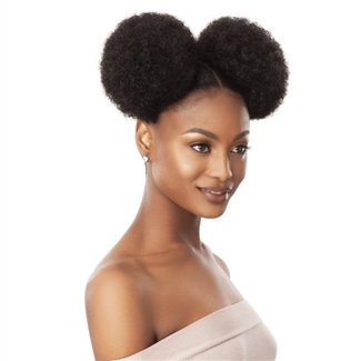 Glamourtress, wigs, weaves, braids, half wigs, full cap, hair, lace front, hair extension, nicki minaj style, Brazilian hair, crochet, hairdo, wig tape, remy hair, Lace Front Wigs, Remy Hair, Outre Synthetic Quick Pony - Afro Puff Duo Large