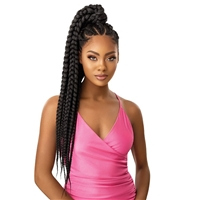 Glamourtress, wigs, weaves, braids, half wigs, full cap, hair, lace front, hair extension, nicki minaj style, Brazilian hair, crochet, hairdo, wig tape, remy hair, Lace Front Wigs, Outre Synthetic Wrap Pony Pretty Quick Ponytail - JUMBO BOX BRAID 32