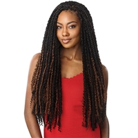 Glamourtress, wigs, weaves, braids, half wigs, full cap, hair, lace front, hair extension, nicki minaj style, Brazilian hair, crochet, hairdo, wig tape, remy hair, Lace Front Wigs, Remy Outre X-Pression Twisted Up Crochet Braid - PASSION WATERWAVE 24""