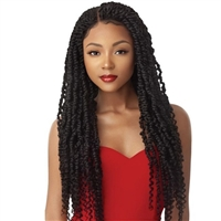 Glamourtress, wigs, weaves, braids, half wigs, full cap, hair, lace front, hair extension, nicki minaj style, Brazilian hair, crochet, hairdo, wig tape, remy hair, Outre X-Pression Twisted Up Pre-Plucked 4x4 Swiss Braid Lace Front Wig Passion Twist 28""