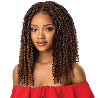 Glamourtress, wigs, weaves, braids, half wigs, full cap, hair, lace front, hair extension, nicki minaj style, Brazilian hair, crochet, hairdo, wig tape, remy hair, Outre Synthetic Twisted Up 4X4 Braid Lace Wig - KINKY BOHO PASSION WATER WAVE 18