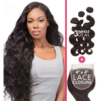 Glamourtress, wigs, weaves, braids, half wigs, full cap, hair, lace front, hair extension, nicki minaj style, Brazilian hair, crochet, hairdo, wig tape, remy hair, Sensationnel 100% Virgin Remi Bare & Natural Lace 4x4 + Bundle  Body Wave 14, 16, 18