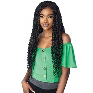 Glamourtress, wigs, weaves, braids, half wigs, full cap, hair, lace front, hair extension, nicki minaj style, Brazilian hair, crochet, hairdo, wig tape, remy hair, Sensationnel Cloud 9 Ruwa 4x4 Multi-Part Swiss Lace Front Wig Passion Twist 28""