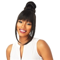 Glamourtress, wigs, weaves, braids, half wigs, full cap, hair, lace front, hair extension, nicki minaj style, Brazilian hair, crochet, hairdo, wig tape, remy hair, Lace Front Wigs, Remy Hair, Sensationnel Synthetic Instant Bun with Bangs - DANI