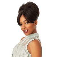 Glamourtress, wigs, weaves, braids, half wigs, full cap, hair, lace front, hair extension, nicki minaj style, Brazilian hair, crochet, hairdo, wig tape, remy hair, Lace Front Wigs, Remy Hair, Sensationnel Synthetic Instant Bun with Bangs - EVONNE