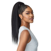 Glamourtress, wigs, weaves, braids, half wigs, full cap, hair, lace front, hair extension, Brazilian hair, crochet, hairdo, wig tape, remy hair, Lace Front Wigs, Remy Hair, Sensationnel Synthetic Ponytail Instant Pony Wrap - KINKY STRAIGHT 24