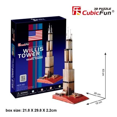 Sears Tower CubicFun C083h 3D Puzzle 51 Pieces