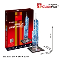 3D Puzzle Bank of China Tower CubicFun C097h 14 Pieces