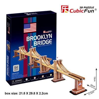 Brooklyn Bridge CubicFun C107h 3D Puzzle 64 Pieces