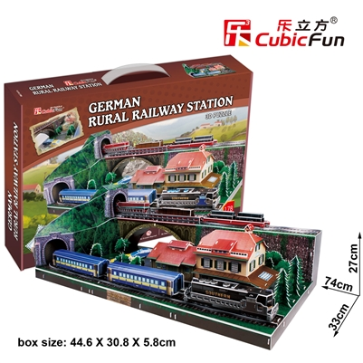 3D Puzzle German Rural Railway Station CubicFun MC141h 178 Pieces