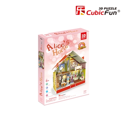 3D Puzzle Alice's Christmas House Adventures in Wonderland Cubicfun 77 Pieces