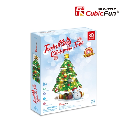 3D Puzzle Twinkling Christmas Tree Evergreen Conifer Cubicfun 23 Pieces