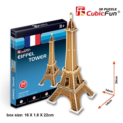 Small Eiffer Tower (France) CubicFun S3006h 3D Puzzle 20 Pieces