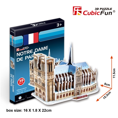 Notre Dame De Paris(France) CubicFun S3012h 3D Puzzle 39 Pieces