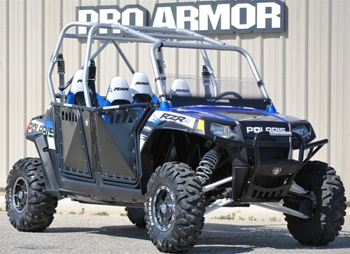PRO ARMOR RZR 4 | RZR XP4 900 - DOORS W/SHEET METAL - BRUSHED ALUMINUM OR  BLACK WITH OR WITHOUT CUT OUTS