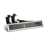 Lew Electric DTC-3-BK-1 Countertop Box, Table Edge Clamping Desktop w/ 4 Power & 6 Open Ports - Silver