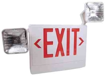 LED Exit-Incandescent Emergency Light Comination Sign-White Box Red Letters