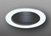 "Elco Lighting 4"" Low Voltage Trim Adjustable Phenolic Step Black Baffle-White"