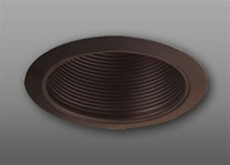 "Elco Lighting 6"" Line Voltage Trim with Metal Step Bronze Baffle-Bronze Ring"
