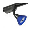 Elco Lighting Low Voltage High Tech Track Fixture-Black with Blue Glass Shade