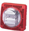 Gentex 24VDC Low Profile Wall Mount Speakerand Strobe-Red Faceplate