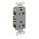 Leviton 20A Decora Plus Duplex Receptacle Commercial Grade-Gray