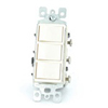 Decora Three Rocker Combo Switch Commercial Grade Single-Pole-Ivory
