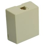 Leviton Surface Mount Telephone Jack 6P6C 1 Port Biscuit Block-Ivory