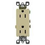 Leviton Decora Duplex Receptacle with Quickwire and Self-Grounding-Ivory