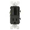 Leviton Decora Combination Switch Single-Pole Rocker and Receptacle-Black