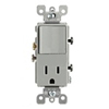 Leviton Decora Combination Switch Single-Pole Rocker and Receptacle-Gray