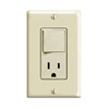 Leviton Decora Combination Switch Single-Pole Rocker and Receptacle-Ivory