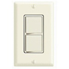 Leviton Decora Combination Switch Double Single-Pole Rocker-Almond