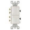 Leviton 20A Decora Combination Switch Double 3-Way Rocker Switch-White