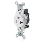 Leviton 20A 5-20R Narrow Body Single Receptacle-White