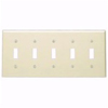 Leviton 5-Gang Toggle Switch Wall Plate-Light Almond