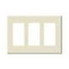 Leviton 3-Gang Decora Plus Screwless Wall Plate-Light Almond