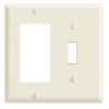 Leviton 2-Gang Combination Wall Plate 1 Decora and 1 Toggle Switch-Almond
