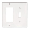 Leviton 2-Gang Combination Wall Plate 1 Decora and 1 Toggle Switch-White