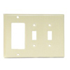 Leviton 3-Gang Combination Wall Plate 2-Toggle Switch and 1-Decora-Ivory