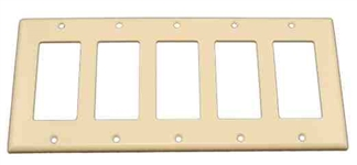 Leviton 5-Gang Decora Wall Plate-Light Almond